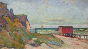 Cesar Klein Ahrenshoop IV (Badehaus am Strand), 1909 Öl auf Malpappe Privatbesitz